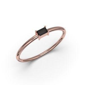 10K ROSE GOLD BAGUETTE CUT BLACK CZ RING